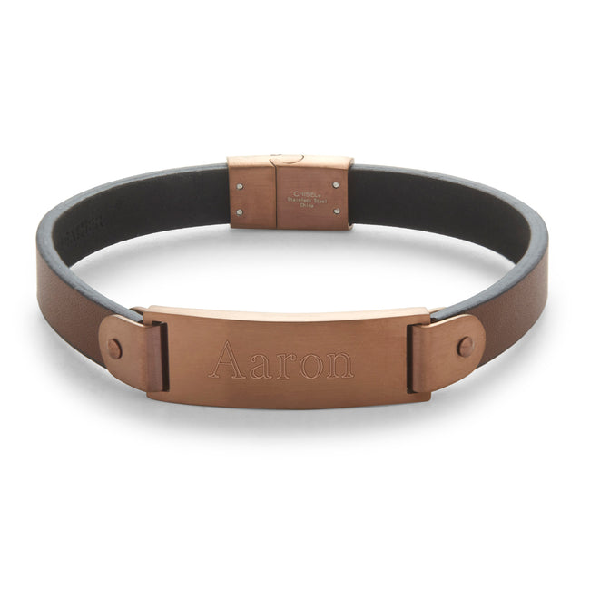 Men's Brushed Brown Stainless Steel Leather ID Bracelet