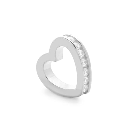 Silver April Eternity Heart Charm