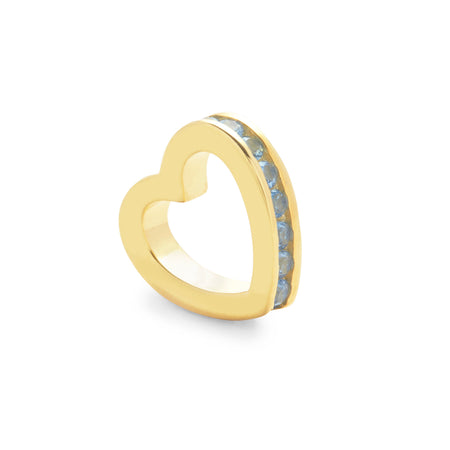 display slide 1 of 2 - Gold December Eternity Heart Charm - selected slide