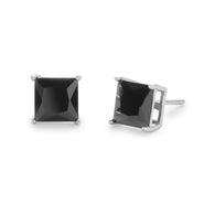 Men's Silver 6mm Square Black CZ Stud Earrings
