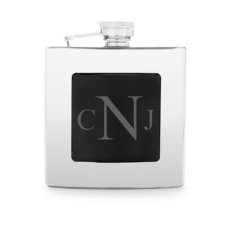 Engravable Black Front Stainless Steel Flask