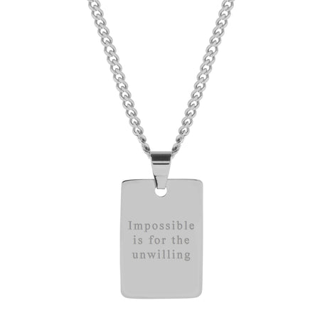Men's Engravable Polished Stainless Steel Dog Tag Pendant