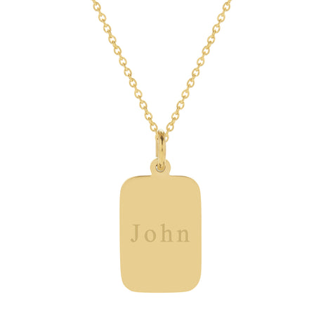 Men's Engravable Gold Plated Stainless Steel Rectangle Pendant