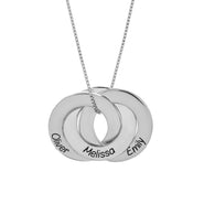 Engravable Sterling Silver Interlocking 3 Ring Pendant