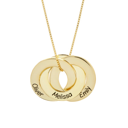 Engravable Gold Plated Sterling Silver Interlocking 3 Ring Pendant