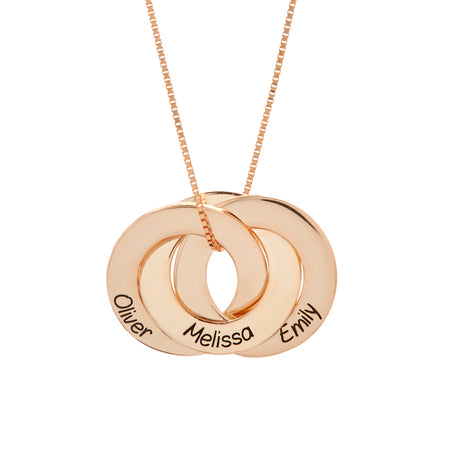 Engravable Rose Gold Plated Sterling Silver Interlocking 3 Ring Pendant