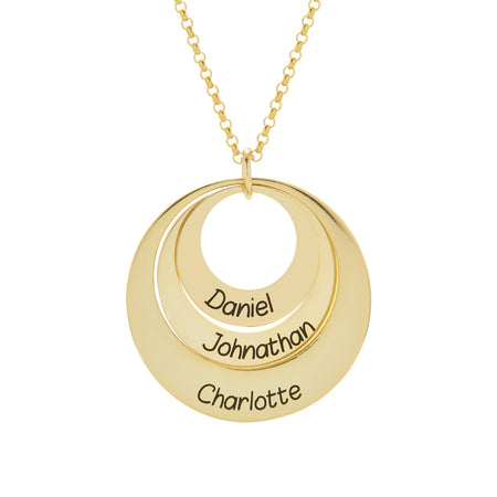 Engravable Gold Plated Sterling Silver Layered Pendant