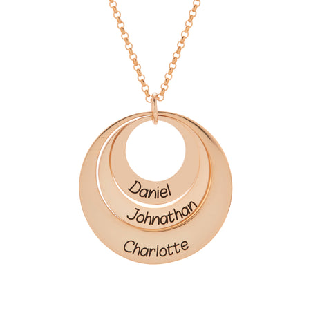 display slide 1 of 3 - Engravable Rose Gold Plated Sterling Silver Layered Pendant - selected slide