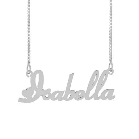 Sterling Silver Script Heart Nameplate Necklace