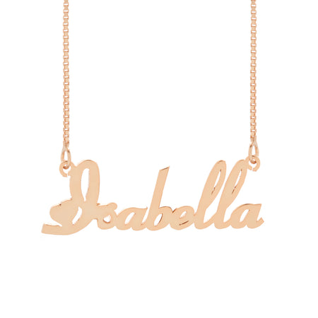display slide 1 of 2 - Rose Gold Plated Sterling Silver Script Heart Nameplate Necklace - selected slide