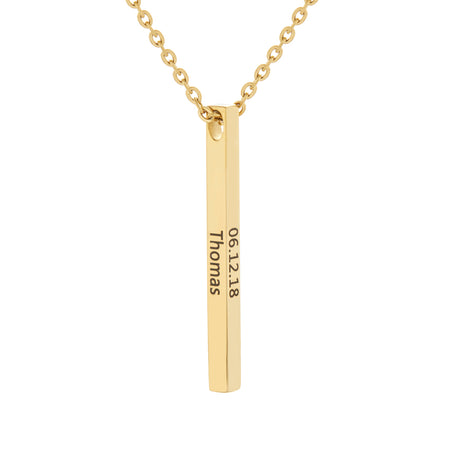 Engravable Gold Plate Stainless Steel Vertical Square Name Bar Necklace