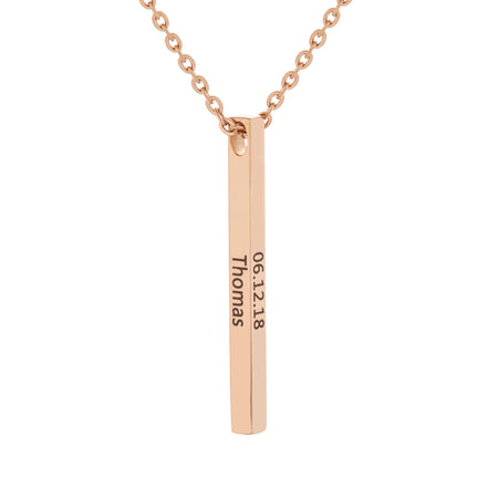 Engravable Rose Gold Plate Stainless Steel Vertical Square Name Bar Necklace