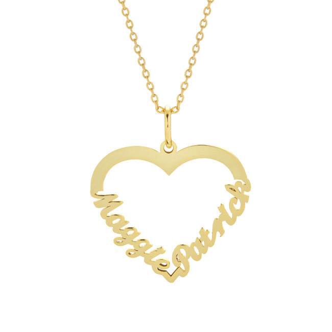 Gold Heart Nameplate Necklace