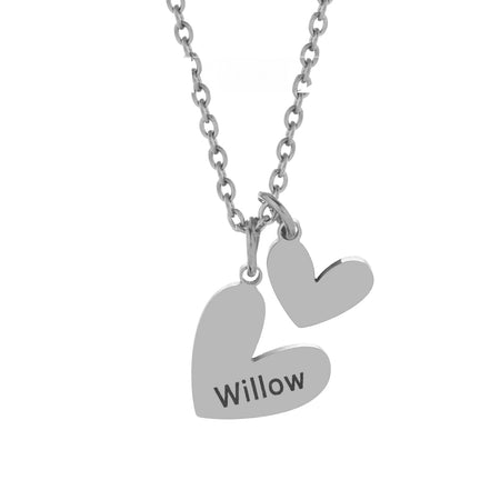 Engravable Stainless Steel Double Heart Necklace