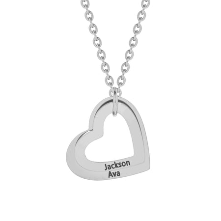 2 Open Heart Engravable Stainless Necklace