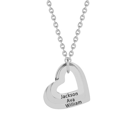 3 Open Heart Engravable Stainless Necklace