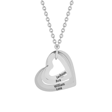 display slide 1 of 3 - 4 Open Heart Engravable Stainless Necklace - selected slide