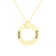 Engravable 2 Name Gold Family Circle Pendant
