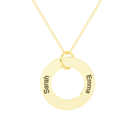 display slide 1 of 3 - Engravable 2 Name Gold Family Circle Pendant - selected slide