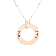 Engravable 2 Name Rose Gold Family Circle Pendant