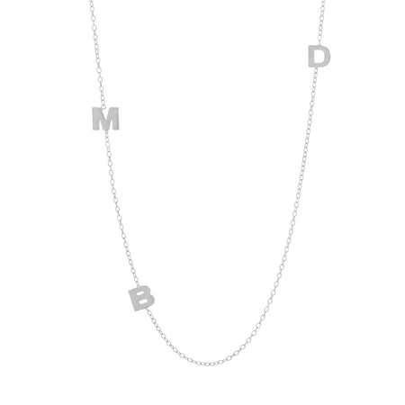 Sterling Silver Sideways 3 Initial Necklace