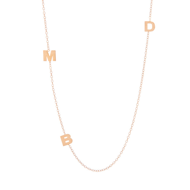 Rose Gold Plated Sideways 3 Initial Necklace