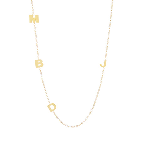 Gold Plated Sideways 4 Initial Necklace