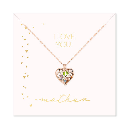 I Love You Mother Custom Rose Gold Interlocking Hearts Birthstone Locket