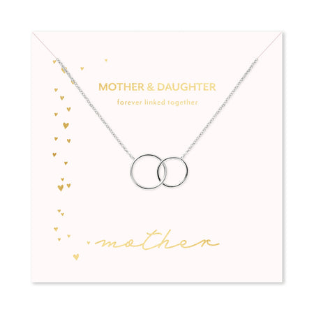 Mother & Daughter Silver Two Generation Eternity Circle Necklace