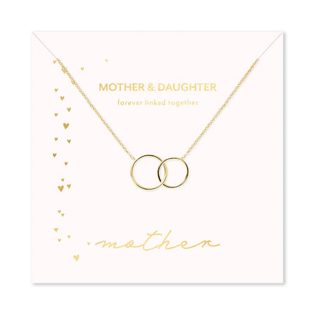 Mother & Daughter Gold Two Generation Eternity Circle Necklace