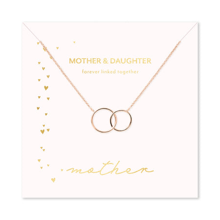 Mother & Daughter Rose Gold Two Generation Eternity Circle Necklace