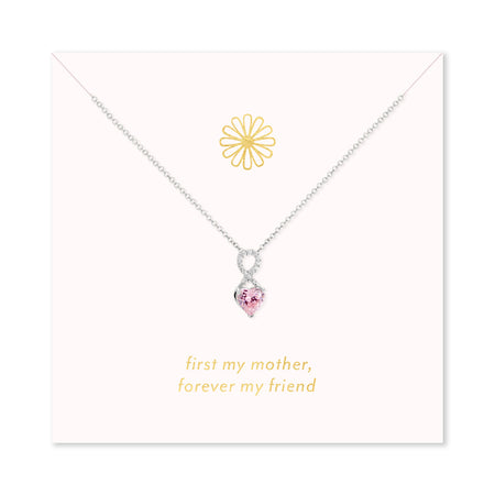 Forever My Friend Silver Infinity Heart Birthstone Necklace