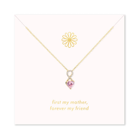 Forever My Friend Gold Infinity Heart Birthstone Necklace