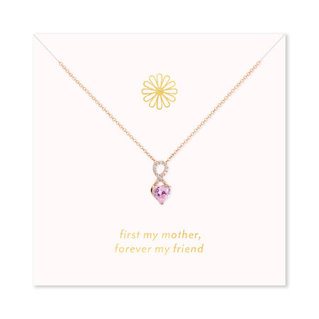 Forever My Friend Rose Gold Infinity Heart Birthstone Necklace