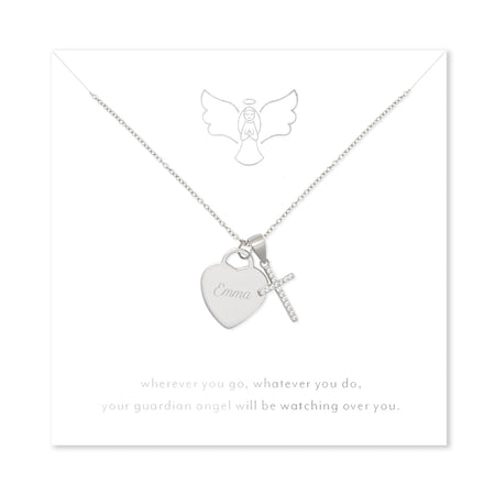Guardian Angel Sterling Silver Engravable Heart with CZ Cross Pendant