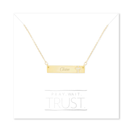 display slide 1 of 1 - Pray. Wait. Trust. Engravable Gold Name Bar with CZ Cross - selected slide