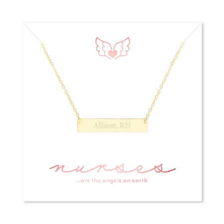 Nurse Engravable Gold Plated Name Bar Necklace