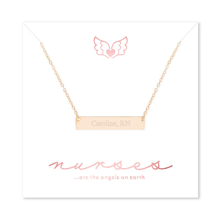 Nurse Engravable Rose Gold Plated Petite Name Bar Necklace