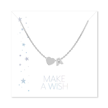 Make a Wish Personalized Initial and Heart Silver Necklace