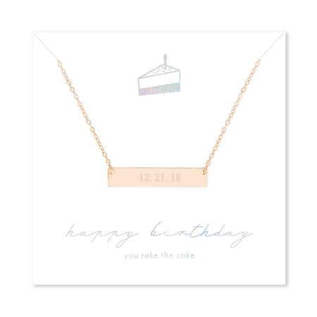 Happy Birthday Custom Date Rose Gold Bar Necklace