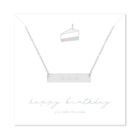 display slide 1 of 1 - Happy Birthday Custom Date Silver Bar Necklace - selected slide