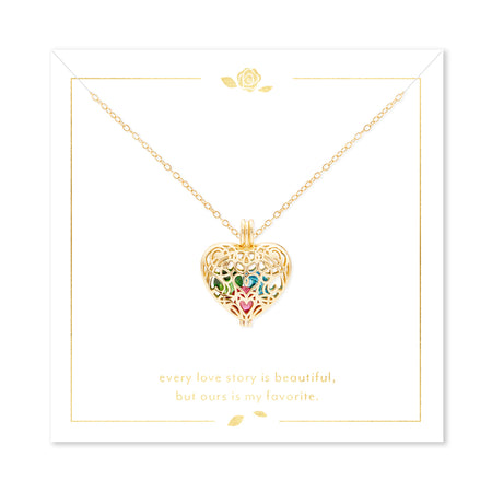 display slide 1 of 2 - Our Love Story Filigree Heart Gold Birthstone Locket - selected slide