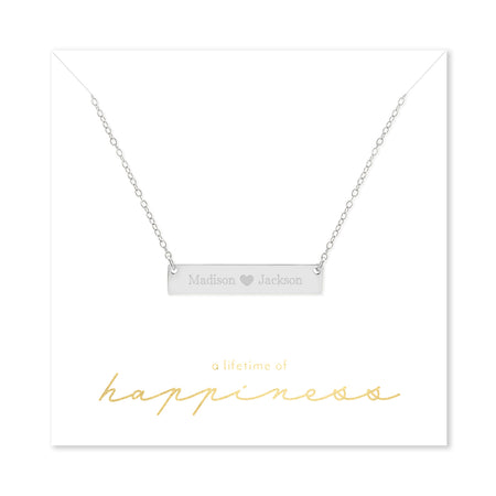 Happiness Couple's Heart Sterling Silver Name Bar Necklace