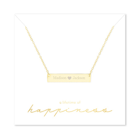 Happiness Couple's Heart Gold Plated Name Bar Necklace