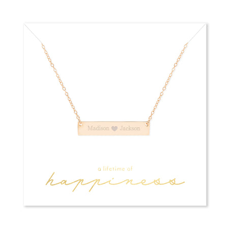 Happiness Couple's Heart Rose Gold Name Bar Necklace