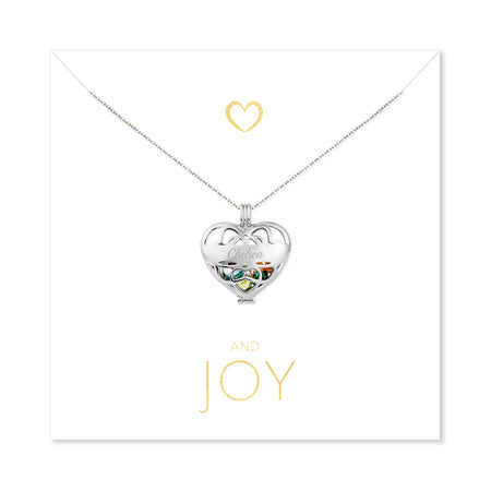 Joy Engravable Silver Heart Birthstone Locket