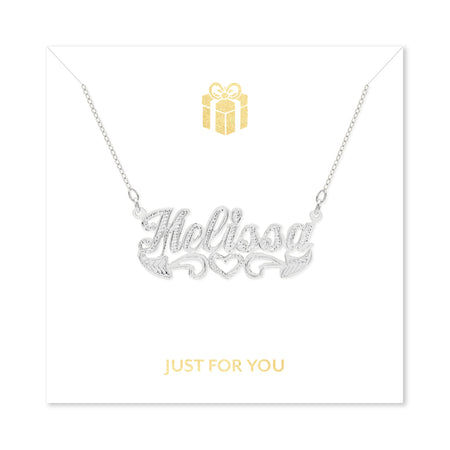 Just For You Carved Script Nameplate Necklace