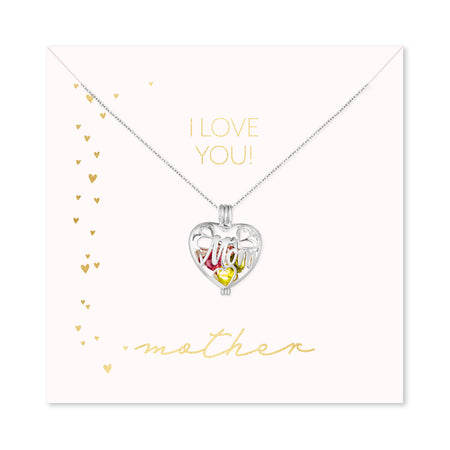 I Love You Mother Custom Mom Birthstone Heart Locket