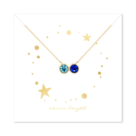 Shine Bright 2 Stone Birthstone Bezel Set Gold Necklace