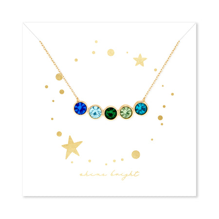 Shine Bright 5 Stone Birthstone Bezel Set Gold Necklace